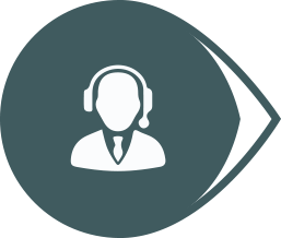 suited figure with a headset on in a bubble icon