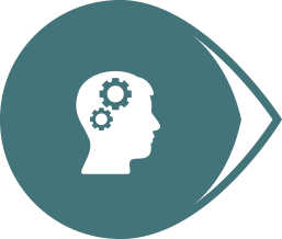 head with cogs in brain in a bubble icon