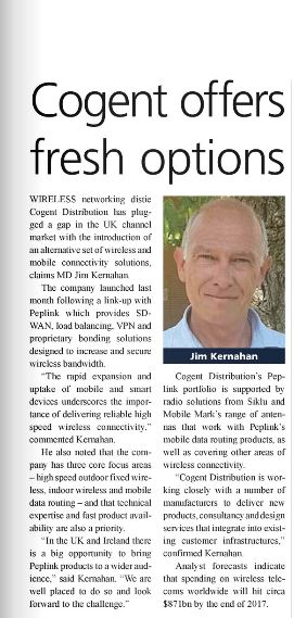 """Newspaper article titled """"Cogent offers fresh options"""" with headshot of Jim Kernahan"""